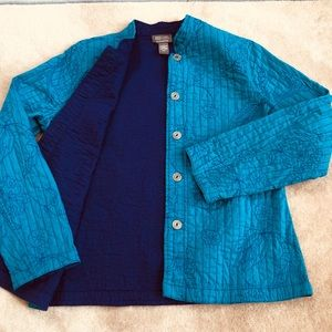 Chico's Quilted Reversible Jacket Blue Purpl Sz 1